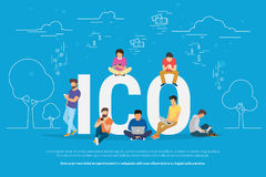 ICO concept illustration. ICO concept vector illustration of young people using laptop and smartphone for online funding new startup or making investments for Royalty Free Stock Image