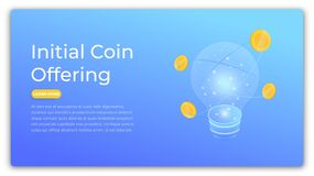 ico Concetto isometrico di offerta iniziale della moneta Progettazione dell'immagine moderna dell'eroe di ICO Fotografia Stock