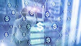 美元象,金钱网络结构 ICO、贸易和投资 Crowdfunding 免版税库存图片