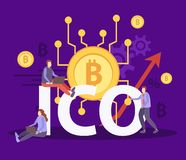 ICO Cryptocurrency Flat Composition stock photo