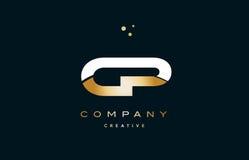 ico de luxe d'or blanc de logo de lettre d'alphabet d'or jaune du cp c p illustration libre de droits