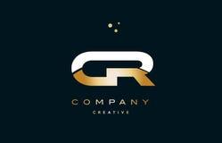 ico de luxe d'or blanc de logo de lettre d'alphabet d'or jaune du Cr c r illustration de vecteur