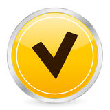 Ico del círculo del amarillo del símbolo de verificación Imágenes de archivo libres de regalías