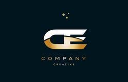 ico di lusso dorato bianco di logo della lettera di alfabeto dell'oro giallo del Ce c e Fotografia Stock Libera da Diritti