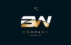 ico för logo för bokstav för alfabet för gul guld för bw b w vit guld- lyxig Arkivbild