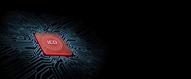 ICO führte Glühen auf rotem Computer-Chip mit Leiterplattehintergrund stock abbildung