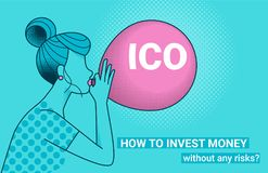 ICO letters flying up in blue sky with yellow air balloon. ICO fraud conceptual design how to invest money without risks. Initial coin offering concept vector Royalty Free Stock Photos