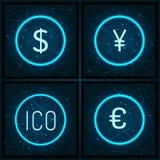 Ico i Dolarowy waluta Ustalony wektor euro i jenu ilustracji