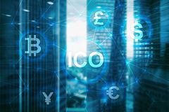 ICO - Initial coin offering, Blockchain and cryptocurrency concept on blurred business building backgroun. D royalty free stock images