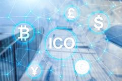 ICO - Initial coin offering, Blockchain and cryptocurrency concept on blurred business building background.  royalty free stock images
