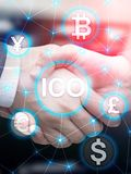 ICO - Initial coin offering, Blockchain and cryptocurrency concept on blurred business building background. Abstract. Cover Design Vertical Format royalty free stock image