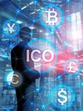 ICO - Initial coin offering, Blockchain and cryptocurrency concept on blurred business building background. Abstract Cover Design. Vertical Format royalty free stock images