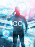 ICO - Initial coin offering, Blockchain and cryptocurrency concept on blurred business building background. Abstract Cover Design. ICO - Initial coin offering stock illustration
