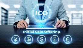 ICO Initial Coin Offering Business Internet Technology Concept.  Stock Photo
