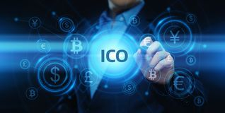 ICO Initial Coin Offering Business Internet Technology Concept stock illustration