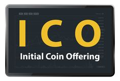 ICO Initial coin offering Royalty Free Stock Photo