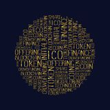 ICO concept tag words pattern. ICO Initial coin offering concept in tag circle cloud. Startup crowdfunding, blockchain technology texture. ICO concept words gold Royalty Free Stock Images
