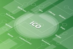 Ico initial coin offering words isometric 3d word text concept with some related text and dot connected - vector. Illustration stock illustration