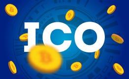 ICO - Initialt erbjuda för mynt ICO-teckenbegrepp Illustration för nyheterna, presentation, socialt massmedia, blogg Arkivbilder