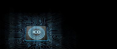 ICO led glow on computer chip with  circuit board background. Concept of microchip technology to support cryptocurrency mining, processing, trading, throughput royalty free illustration