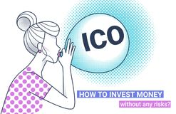 ICO letters flying up in blue sky with yellow air balloon. ICO fraud conceptual design how to invest money without risks. Initial coin offering concept white Royalty Free Stock Images