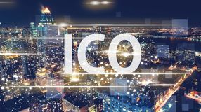 ICO with the New York City skyline Royalty Free Stock Photography