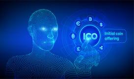 ico Offre initiale de pi?ce de monnaie Cryptocurrency et concept global de commerce ?lectronique Fintech, concept marchand financ
