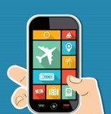 Ico plat de main d'apps colorés mobiles humains du voyage UI illustration de vecteur