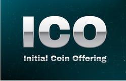 ICO rubrican la moneda que ofrece en fondo abstracto con el par del blockchain mirar red Bandera global del blockchain del crypto stock de ilustración