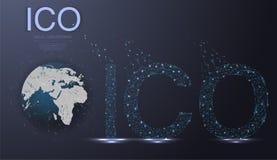 ICO siglano la moneta che offre il fondo futuristico del hud con la mappa di mondo e la rete peer-to-peer del blockchain Fotografia Stock