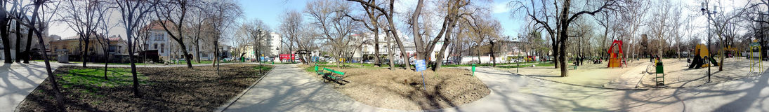 Icoanei庭院,布加勒斯特, 360度全景 免版税库存图片
