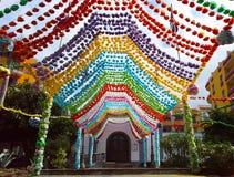 Icod de los Vinos den festively dekorerade kyrkan av San Marcos, Tenerife Arkivfoto