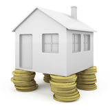 Icoinc house with coins pillars. Icoinc house with pillars made of coins as concept for real state investment Royalty Free Stock Photo