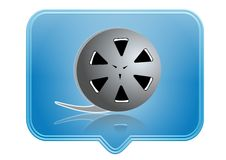 Icon. Movie film reel icon over blue background Stock Photography