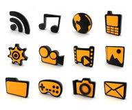 Icon 3d (orange). Twelve icons on computer orange and black Royalty Free Stock Photos