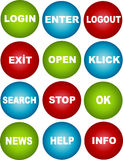 Icon. Login enter logout exit open klick search stop ok news help info Royalty Free Stock Photos