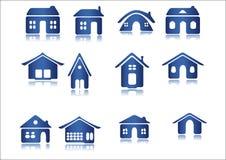 Icon. House icon blue web white background Royalty Free Stock Photos