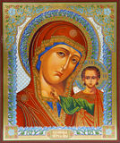Icon. Madonna (Mary) of Jerusalem and a child (Jesus Christ) on mahogany and gold Stock Photography