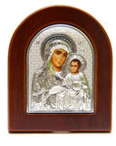 Icon. Madonna (Mary) of Jerusalem and a child (Jesus Christ) on mahogany and gold Royalty Free Stock Photography