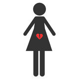 Icon of abortion. Sign pro life and pro choice. The symbol of miscarriage. A woman with a broken heart in her stomach. Isolated Stock Images
