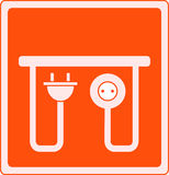 Icon with AC outlet and plug Royalty Free Stock Images