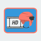Icon Action Camera on Helmet Royalty Free Stock Photos