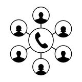 Icon of advanced call center, an operator, callers clients Stock Photos