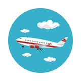 Icon Airplane Flies to the West Royalty Free Stock Image