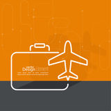 Icon airplane and suitcase Stock Image