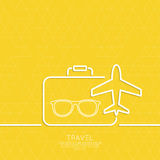 Icon airplane and suitcase Stock Photos