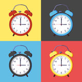 Icon of alarm clock. Colored icons of clock, flat style Stock Images