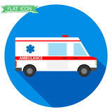 Icon ambulances. Icon ambulance with a long shadow. Flat design, vector illustration, vector royalty free illustration