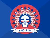 Icon of American man with Indian chief feathers on the head Royalty Free Stock Images