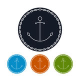 Icon  anchor and chain, vector illustration Stock Photography